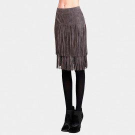 Vanilla Chocolate Chopped Pencil Grey Skirt (V631057094)