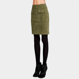 Vanilla Chocolate Embellished Welt Green Skirt (V641057238)