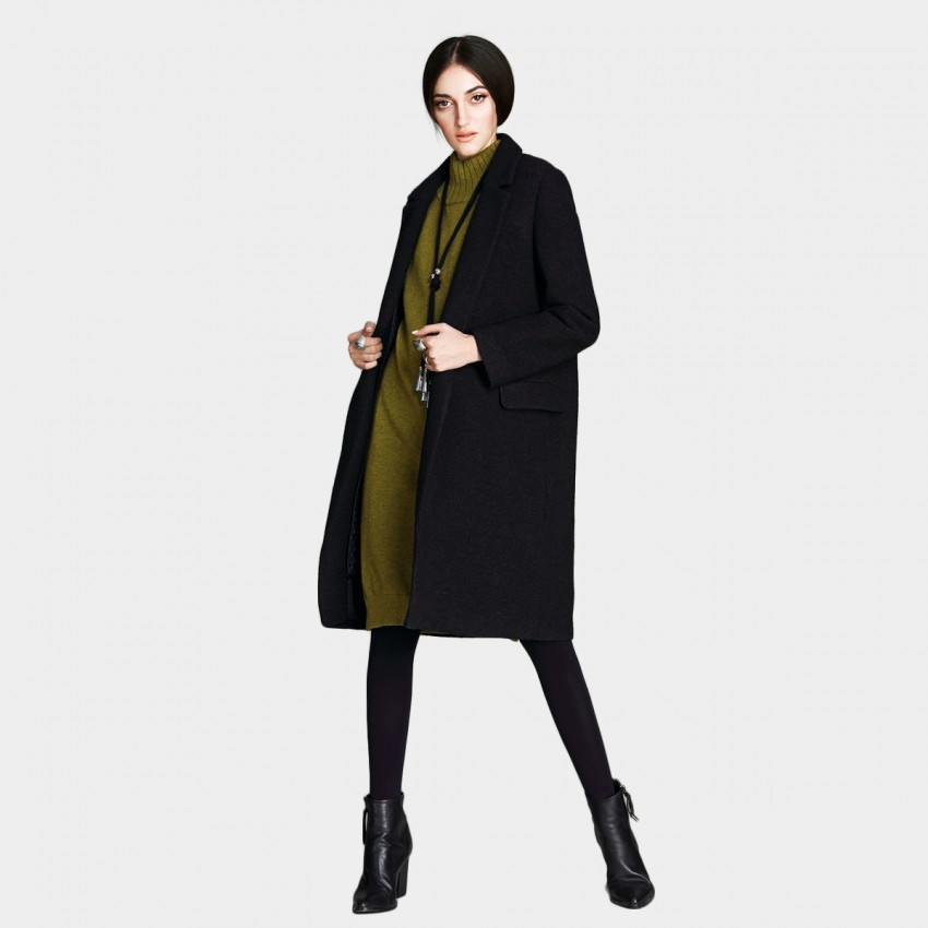 Vanilla Chocolate Long Lapel Cut Black Coat (V642277405)