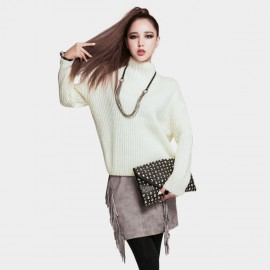 Vanilla Chocolate Simple Cinched Hem Off White Knit (V642197027)