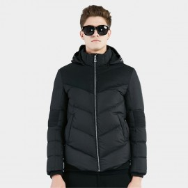 Beverry Ribbed Elbow Black Down Jacket (16AFQ036)