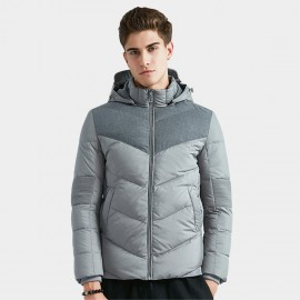 Beverry Ribbed Elbow Grey Down Jacket (16AFQ036)