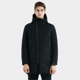 Beverry Deviated Placket Black Down Jacket (16AFQ077)