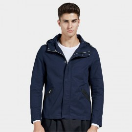 Beverry Placketed Pocket Hooded Navy Jacket (16AFQ121)