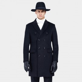 Beverry Bold Button Double Breasted Black Coat (16AFQ1721)