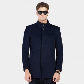 Beverry Twin Button Banded Collar Navy Coat (16AFQ8603)