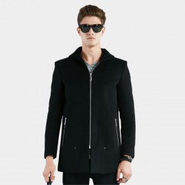 Beverry Side Decorative Button Hooded Navy Coat (16AFQ8605)