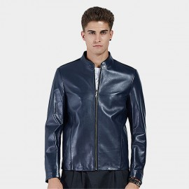 Beverry Plain Rock Blue Leather Jacket (16BAQ124)