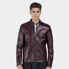 Beverry Plain Rock Coffee Leather Jacket (16BAQ124)