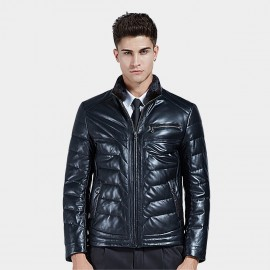 Beverry Classy Seam Chest Zipper Black Leather Jacket (16BAQ127)