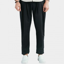 Beverry Pleated Front Loose Thigh Black Pants (16CAQ094)