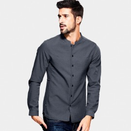 Kuegou Short Side Panel Charcoal Shirt (XC-25801)