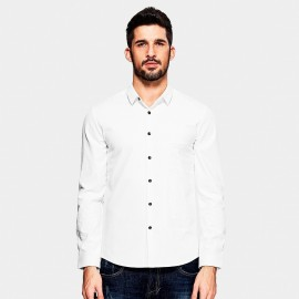 Kuegou Elbow Panel White Shirt (XC-25805)