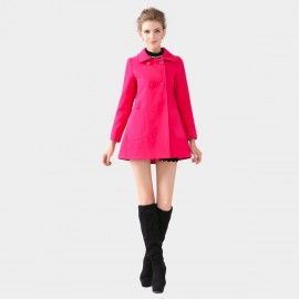 SSXR Square Collar Button Down Bell Shape Hip Length Rose Coat (4102)