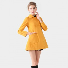 SSXR Square Collar Button Down Bell Shape Hip Length Yellow Coat (4102)