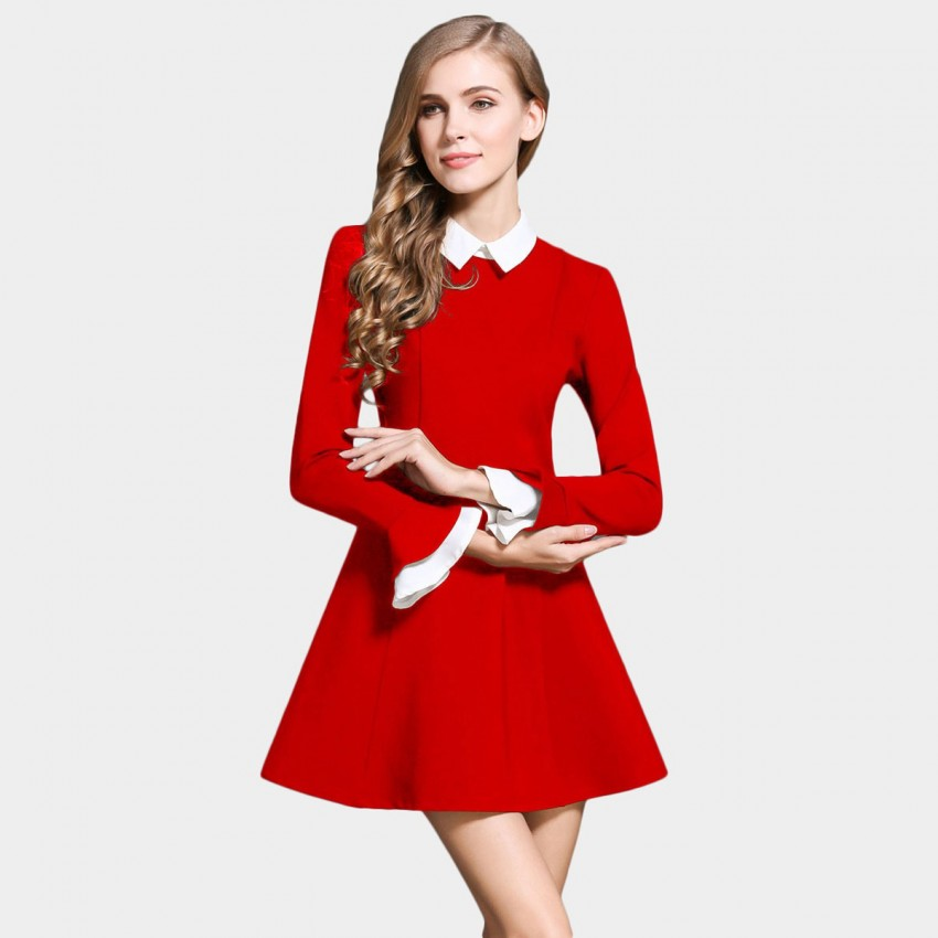 SSXR Contrast Collar And Cuffs Long Sleeved A Line Red Dress (5283)