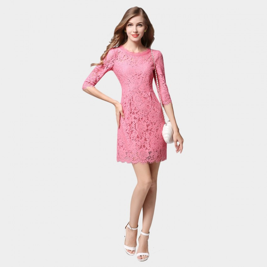 SSXR See Through Lace Mid Sleeved One Piece Pink Dress (5353)