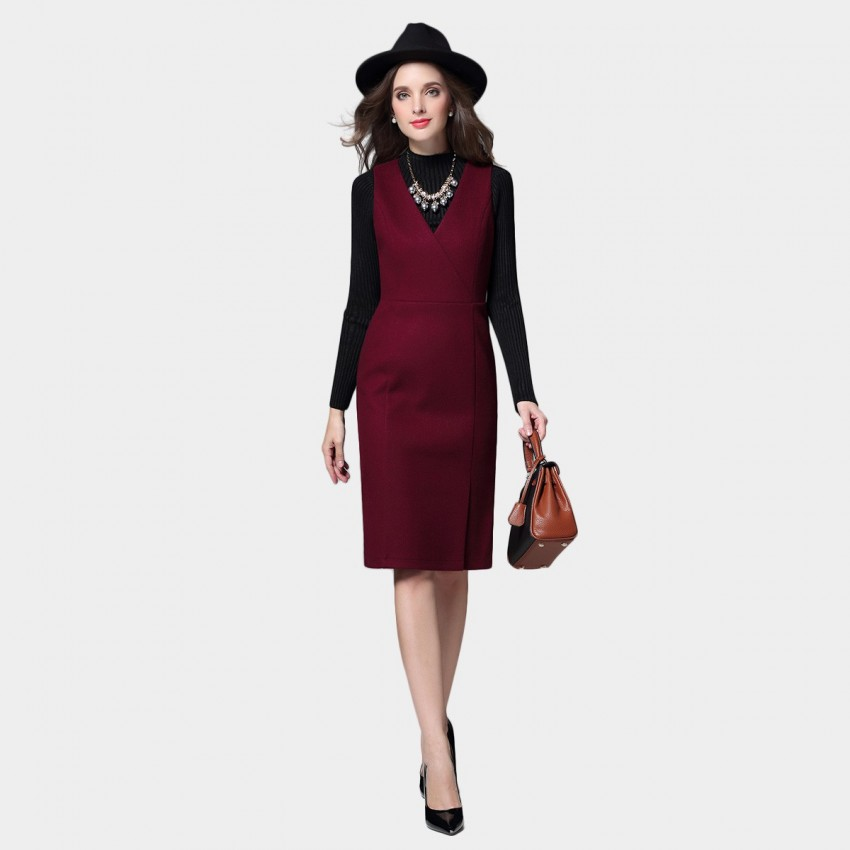 SSXR V Neck Buttoned Back Belt Knee Length Wine Dress (5386)