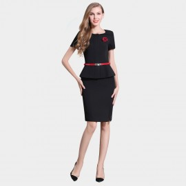 SSXR Pinned Rose And Contrast Belt Business Black Set (7044)