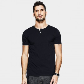 KUEGOU One Button Placket Black Tee (MT-15114)