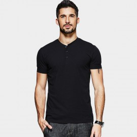 KUEGOU Half Collar Black POLO Shirt (MT-15118)