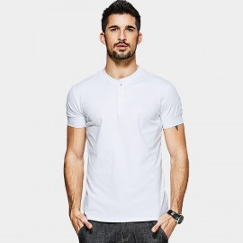 KUEGOU Half Collar White POLO Shirt (MT-15118)