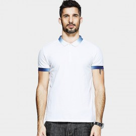 KUEGOU Gradient Edge White POLO Shirt (MT-1543)