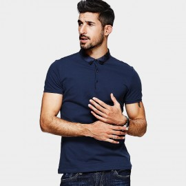 KUEGOU Gloss Collar Navy POLO Shirt (MT-1546)