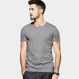 KUEGOU One Button Placket Grey Tee (MT-15114)