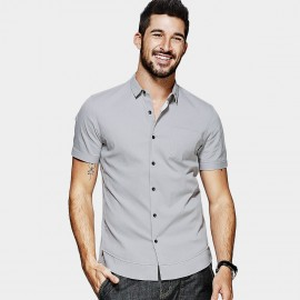 KUEGOU Contrast Button Down Grey Shirt (XC-25515)