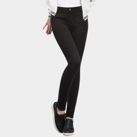 Leiji Contrasting Stitches Skinny Black Jeans (5408)