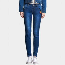 Leiji Cartoon Embroidery Washed Denim Skinny Blue Jeans (5416)
