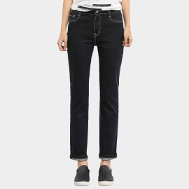 Leiji Straight Leg Contrasting Seams Rolled Black Jeans (5430)
