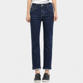 Leiji Straight Leg Contrasting Seams Rolled Blue Jeans (5430)