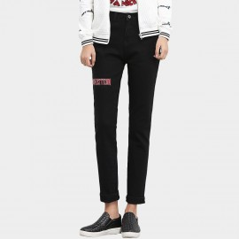 Leiji Straight Leg Tinted Slogan Embroidery Black Jeans (5434)