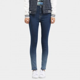 Leiji Tinted Gradient Logo Embroidery Skinny Blue Jeans (5446)