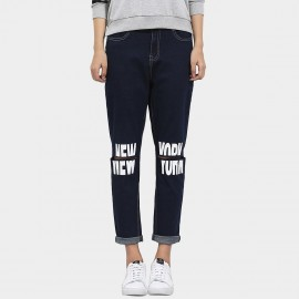Leiji Tinted Knee Cut Slogan Print Rolled Navy Jeans (5456)