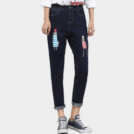 Leiji Doll Print Tinted High Waist Regular Fit Navy Jeans (5498)