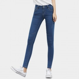 Leiji Contrasting Seams Scratched Tinted Skinny Blue Jeans (5504)