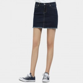 Leiji Tinted Indigo Denim Tassel Mini Blue Skirt (5528)