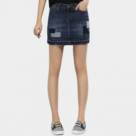 Leiji Patchwork Teddy Bear Washed Denim Mini Blue Skirt (5530)