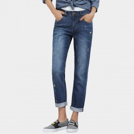 Leiji Dashes Embroidery Regular Fit Rolled Blue Jeans (5534)
