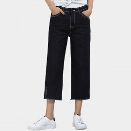 Leiji Tinted Loose Fit Straight Leg Exotic Chic Navy Jeans (5574)