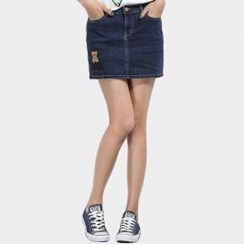 Leiji Teddy Bear Embroidery Denim Mini Blue Skirt (5584)