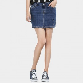 Leiji Embroidery Pattern Denim Mini Blue Skirt (5586)
