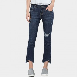Leiji Irregular Cropped Torn Boot Cut Blue Jeans (5594)