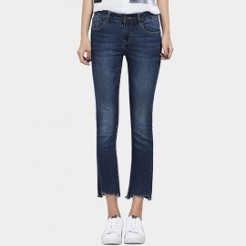 Leiji Cropped Washed Denim Simple Blue Jeans (5596)