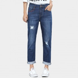 Leiji Red Embroidery High Waist Rolled Blue Jeans (5606)