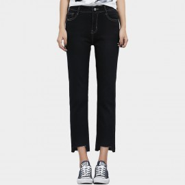 Leiji Contrasting Seams Straight Leg Cropped Black Jeans (5628)