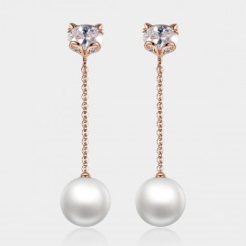 Caromay Long Fox Rose Gold Earrings (E0801)